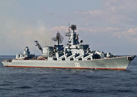 Гвардейский ракетный крейсер «Москва» возглавил группировку кораблей ВМФ России в Средиземном море