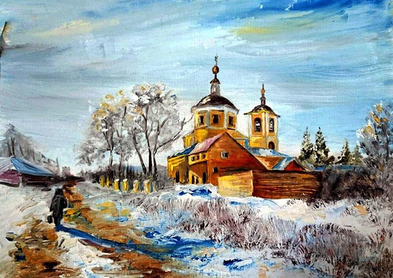 Церковь Константина и Елены в Верее (худ. Юлия Литвинова) Масло, спецбумага, 24х30, 2017