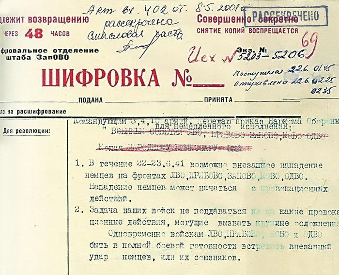 Фрагмент директивы НКО СССР № 1 от 22 июня 1941 г.