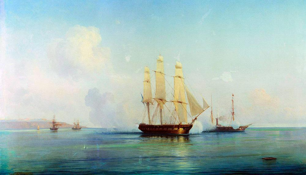 Алексей Боголюбов. Бой русского брига с турецкими кораблями. 1857