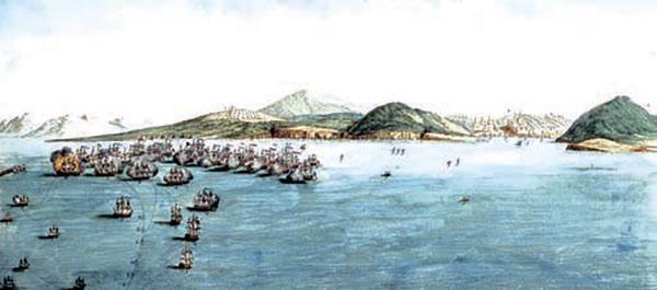 Рисованный план Хиосского сражения.