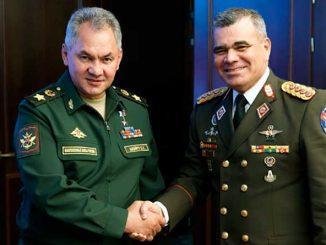 Министр обороны России генерал армии Сергей Шойгу провел встречу со своим венесуэльским коллегой генерал-аншефом Владимиром Падрино Лопесом