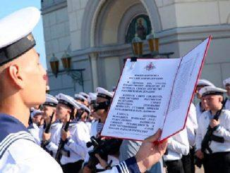 На Черноморском флоте на территории музея «Херсонес Таврический» приняли присягу 150 курсантов учебного центра ВМФ