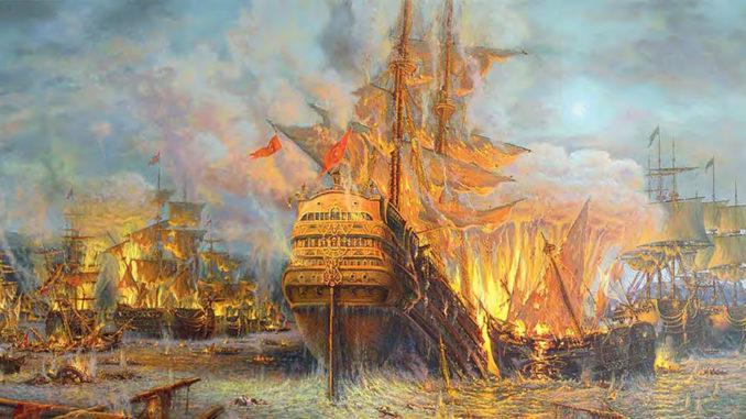 Морское Чесменское сражение 1770 года. Художник С.А. Панин, 2005 г.